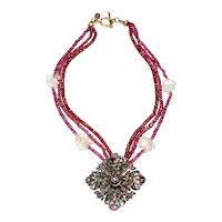 Georgian Sterling Silver Gilt Pendant with Rubies on Three-Strands of Garnets and Crystal