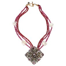 Antique Georgian Sterling Silver Gilt Pendant with Rubies on Three-Strands of Garnets and Crystal