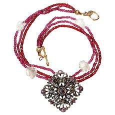English Georgian Pendant on Necklace of Multi-Strands of Garnet & Crystal