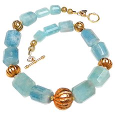Natural Aquamarine with Vintage Afghan Vermeil Beads