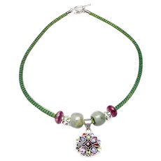 Amethyst, Garnet, Peridot and Iolite Silver Pendant on Band with Jade and Amethyst