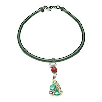 Natural Malachite, Pearl, Peridot, and Sterling Silver Pendant on Silk Band