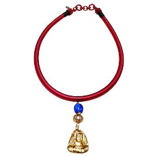 Vintage Vermeil Pendant and beads on Cranberry Silk Band