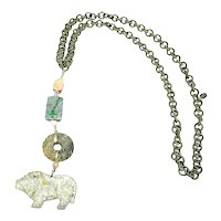 Antique Jade Pig, and Antique Jades on Silk Chain