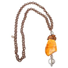 Natural Amber, Sterling Silver, Wood Deer on Silk Chain