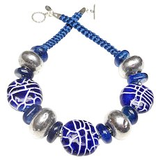 Antique Afghan Silver, Peking Glass, Handmade Pottery Necklace