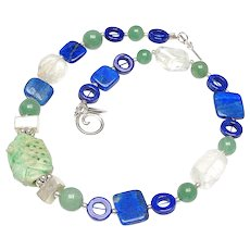 Natural Green Carved Jade, Lapis, Crystal, Sterling Silver Necklace