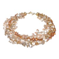 Multi Strands  Cultured Keshi Pearls in Taupe and Russet