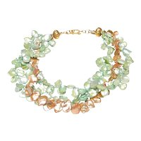 Three Strands of Cultured Keshi Pearls in Green and Tan