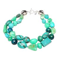Double Strand Necklace of Turquoise and Chrysoprase