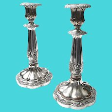 Pair of Antique Sheffield Plate Georgian Candlesticks, Circa 1815-1820