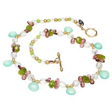 Natural, Faceted Tourmaline, Peridot, Chalcedony and Crystal