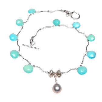 Cultured Silver Pearl, Sterling Silver, Chalcedony Necklace