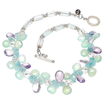 Natural Amethyst, Aquamarine, Chalcedony, and Sterling Silver