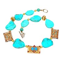 Natural Turquoise,  Vermeil Afghan Panels, 18K Gold Necklace