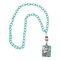 Vintage Tibetan Turquoise Pendant with  Silver Monkey, Coral on  Silk Chain