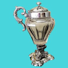 Antique French Silver and Crystal Mustard or Jam Pot, Circa 1880