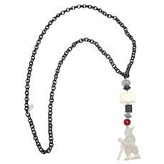 Antique  White Jade Warrior, Onyx, Sterling Silver on  Silk Chain