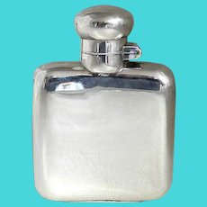 Rare Antique Sterling Silver Small Hip or Pocket Flask, Marked 1905, Birmingham, England