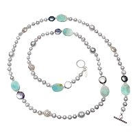 Grey Cultured Freshwater Pearl Long Necklace with Amazonite