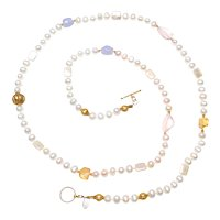 Natural Cultured, Freshwater Pearls with Vermeil, Rose Quartz, Citrine and Chalcedony