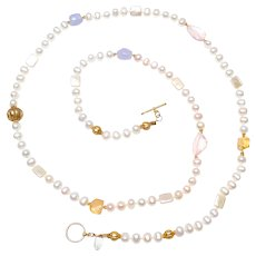 Natural Cultured, Freshwater Pearls with Vintage Vermeil, Rose Quartz, Citrine and Chalcedony