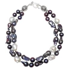 Double Strand  of Black, Grey and White, Baroque, Cultured Pearls