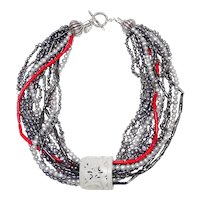 White Jade Thumb Guard on Multi Strands of Pearls, Coral, Sterling Silver