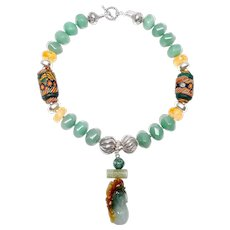 Natural Green Jadeite on Necklace of Antique, Indonesian Mosaic Beads, Natural Citrine, Aventurine and Sterling Silver