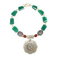 Celadon Jade Pendant on Aventurine, Jade, Rubies and Emeralds