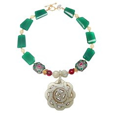 Vintage  Celadon Jade Pendant on Aventurine, Antique Jade, Rubies and Emeralds
