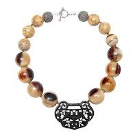 Black Jade Padlock o Natural Buffalo Horn,  Antique Chinese Metal Beads, Sterling Silver