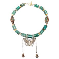 Chinese Silver-Gilt Butterfly on Amazonite,  Tibetan Brass, Sterling Silver