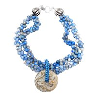 Carved Jade Dragon Disc on Necklace of Double Strands of Blue Sodalite