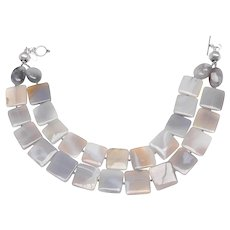 Double Strands of Natural Grey Agate  Panels and Sterling Silver