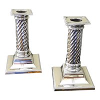 Antique Pair of Silver, Edwardian Spiral Column Candlesticks