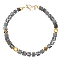 Natural Labradorite with Marcasite and  Vermeil