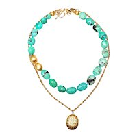 Turquoise and Vermeil with Art Deco Locket on Gold-Plated Chain