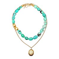 Vermeil Chain & Antique Locket Teemed with Turquoise & Vermeil Necklace