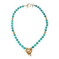 Natural Turquoise Necklace with Vintage, Afghan Vermeil Bird and Beads