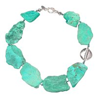Natural Chrysocolla Slices and Sterling Silver Necklace