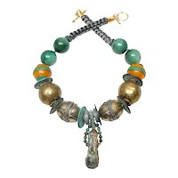 Bronze Hare on Necklace of Brass, Chinese Coins, Jade, Amber