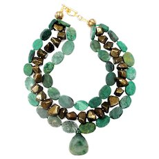 Natural Green Jadeite Clam on Multi Strands of African Jade and Pyrite