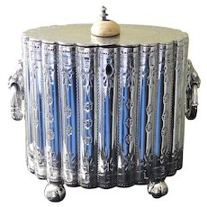 Antique English Silver Plate Tea Caddy, Circa 1890