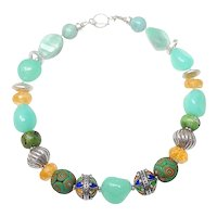 Vintage Moroccan Sterling Silver/ Enamel, Antique Indonesian Glass, Chalcedony, and Citrine