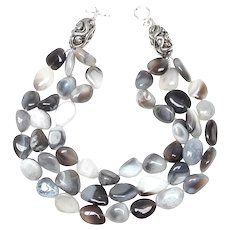 Multi Strand Necklace of Natural Botswana Grey Agate Pebbles and Sterling Silver