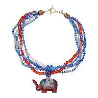 Chinese Cinnabar/Enamel Elephant on Multi Strands of  Lapis, Carnelian, Quartz, Brass
