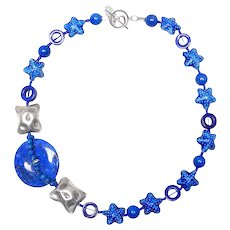 Natural Blue Lapis Disc Lapis, Sterling Silver and Chinese Enamel Stars