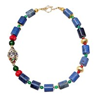 Natural Blue Dumortierite Necklace, with Vermeil, Enamel Kyanite Bead, Coral and Glass