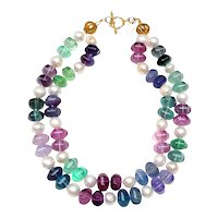Double Strand of Natural Fluorite and Natural White Cultured Freshwater Pearls on Vermeil